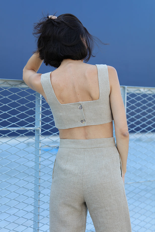 natural rustic linen high waisted pants.