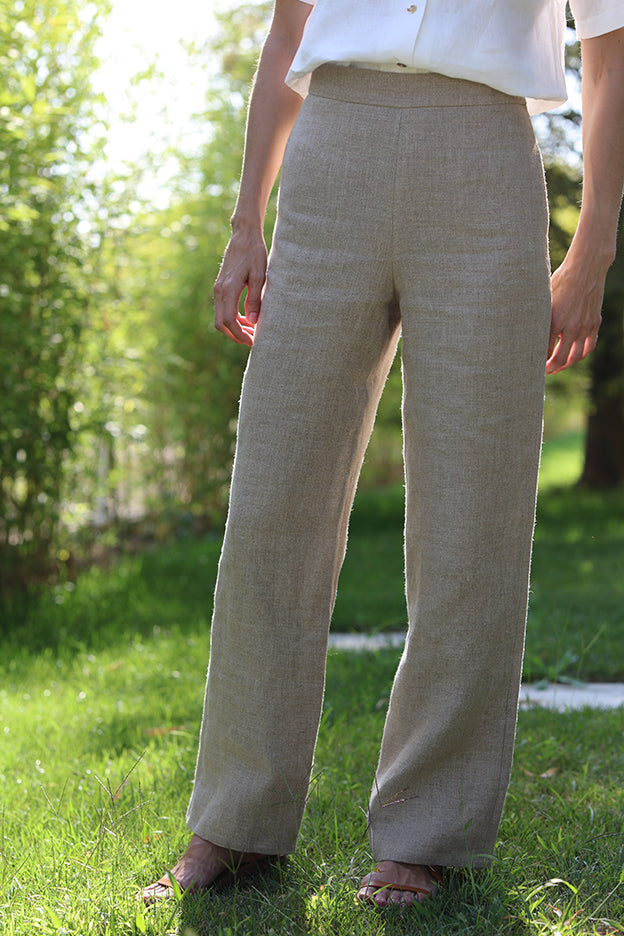 high waisted rustic linen pants