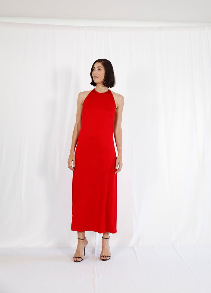 halter neck red dress