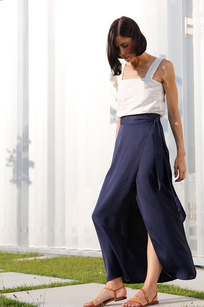 front crossed pareo fluid skirt