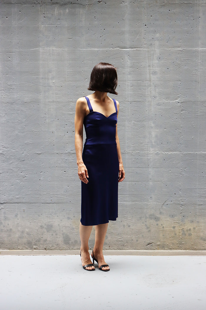 corset inspired blue dress