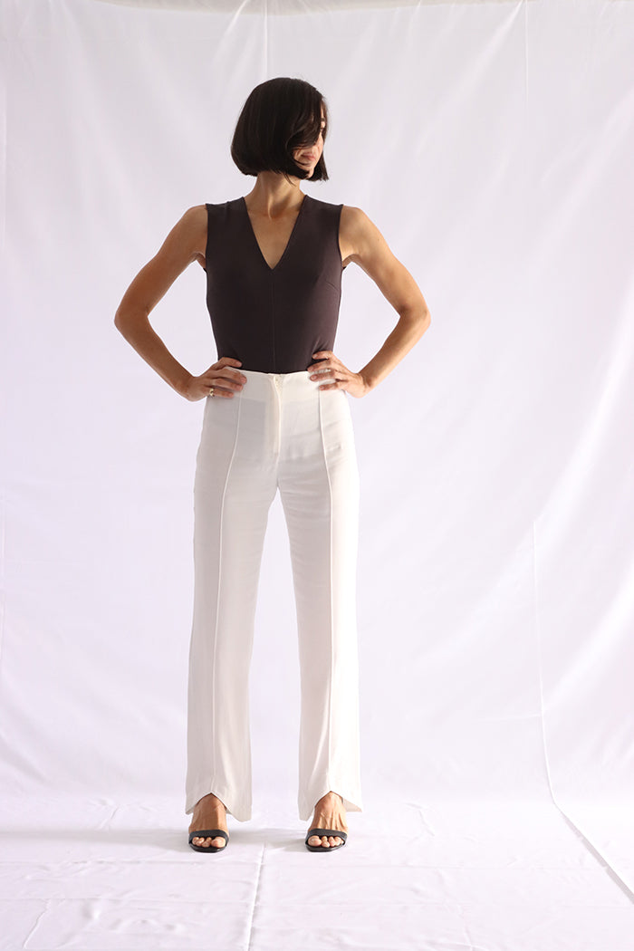 white fluid straight pants