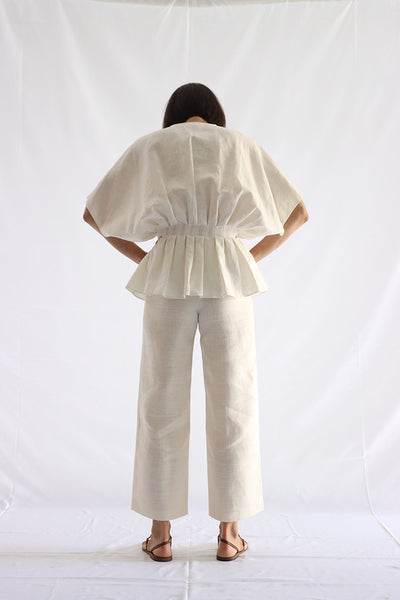 gathered linen shirt