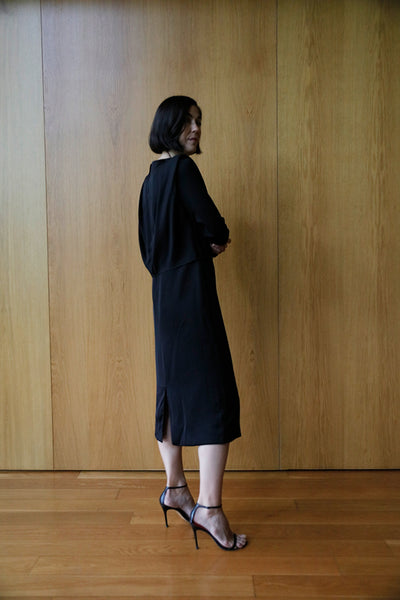 long sleeve bias front dress