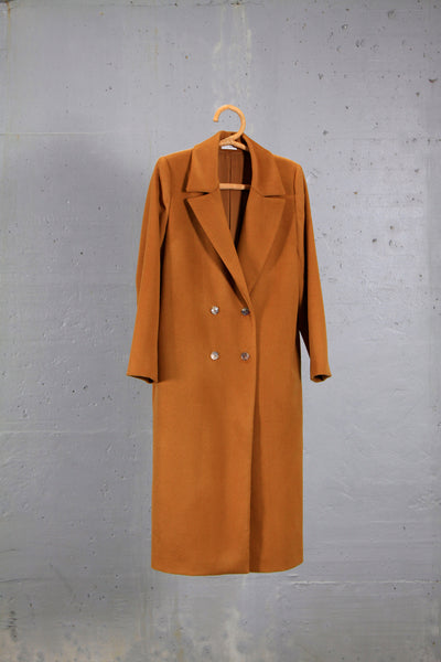 camel straight double - breasted coat