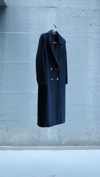 navy blue masculine double breasted coat