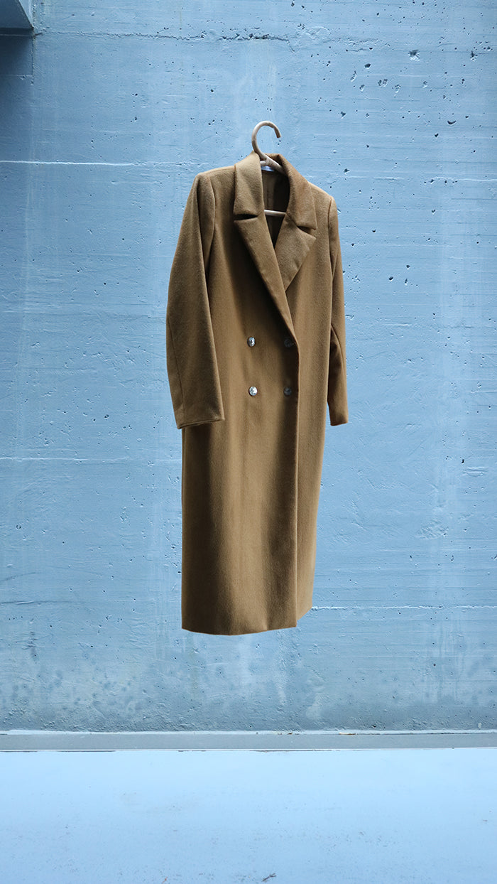 camel masculine double breasted coat