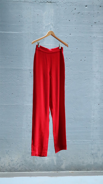 high waisted satin trousers - red