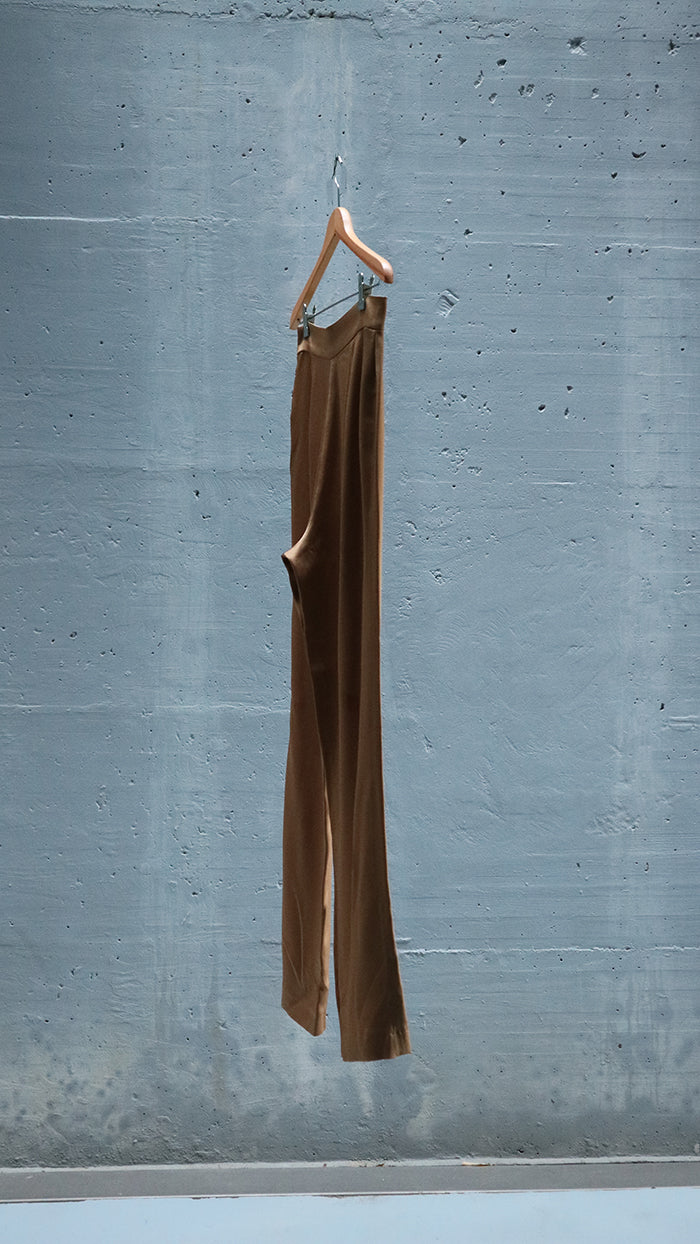 high waisted satin trousers - camel