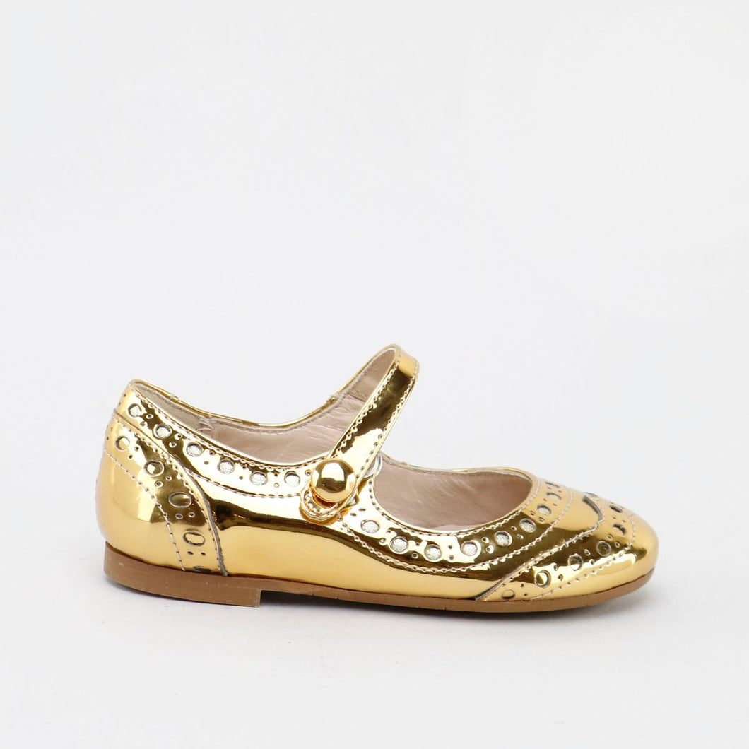 Papanatas Metallic Wingtip Mary Jane
