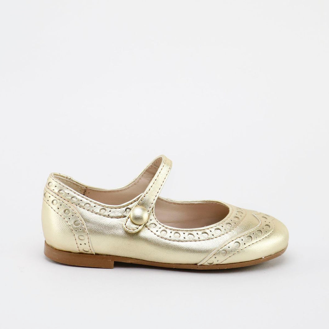 Papanatas Gold Metallic Wingtip Mary Jane