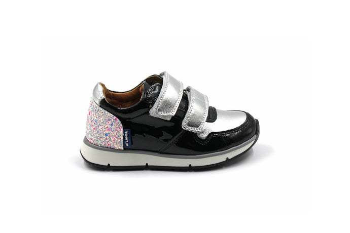Atlanta Silver and Black Velcro Sneaker