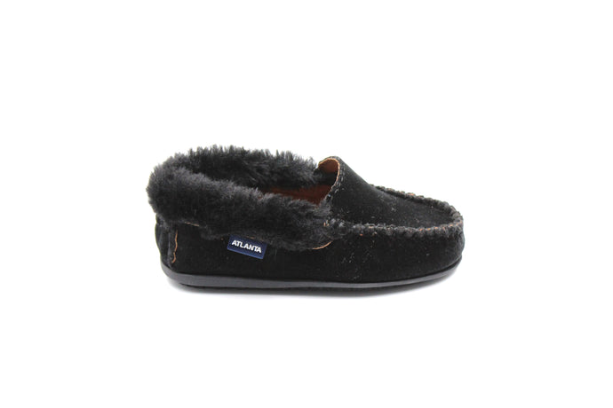 Atlanta Black Velvet Fur Trim Loafer