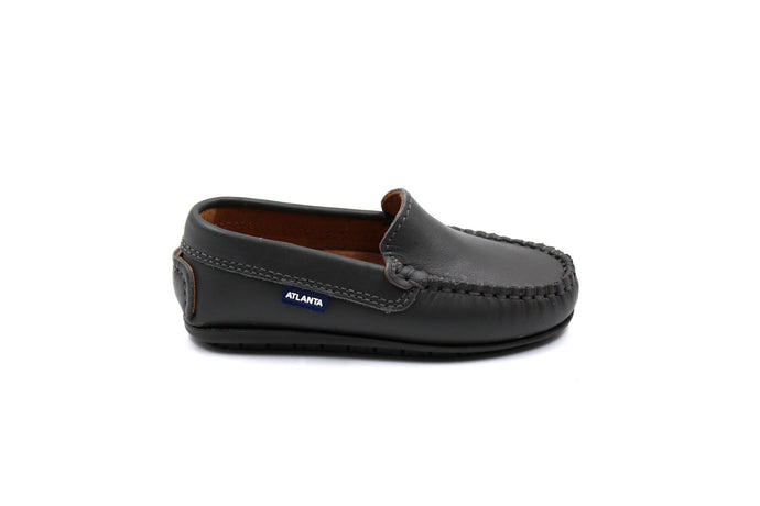 Atlanta Moccasin Boys Dark Grey Loafer Dress Shoes