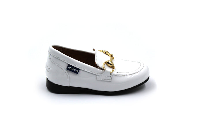 Atlanta Mocassin White Patent Buckle Loafers-side