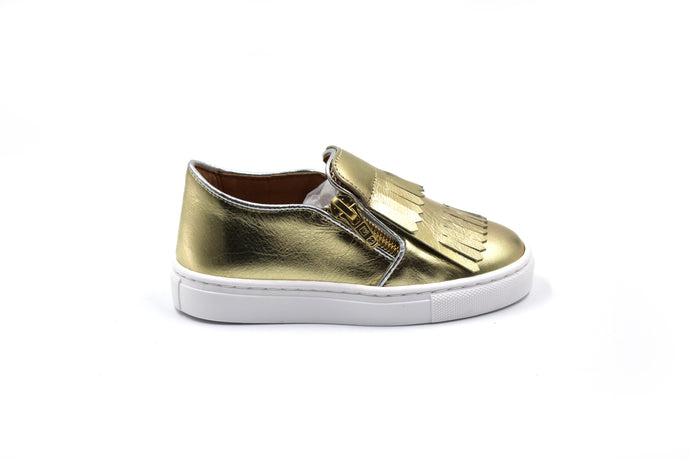 Atlanta Moccasin Fringe Gold Girls Shoes - online sale
