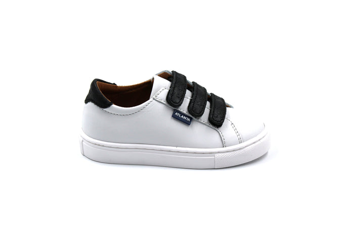Atlanta Mocassin White Black Velcro Star Sneaker-side