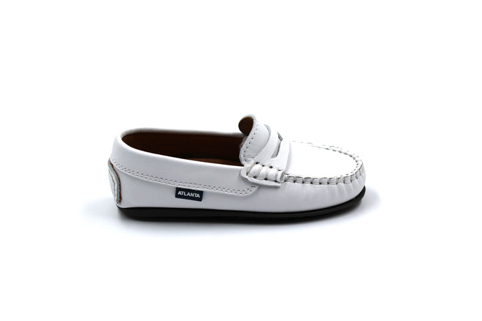 Atlanta Mocassin White Penny Loafers-side view