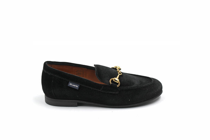 Atlanta Black Velvet Buckle Loafer