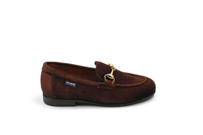 Atlanta Brown Velvet Buckle Loafer