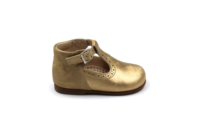 Beberlis Gold Baby Girl Toddler T-Strap Shoe
