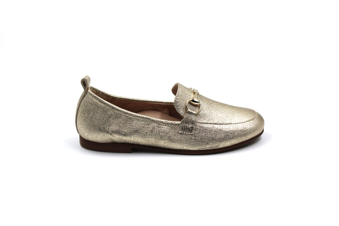 Beberlis Gold Textured Children's Loafer
