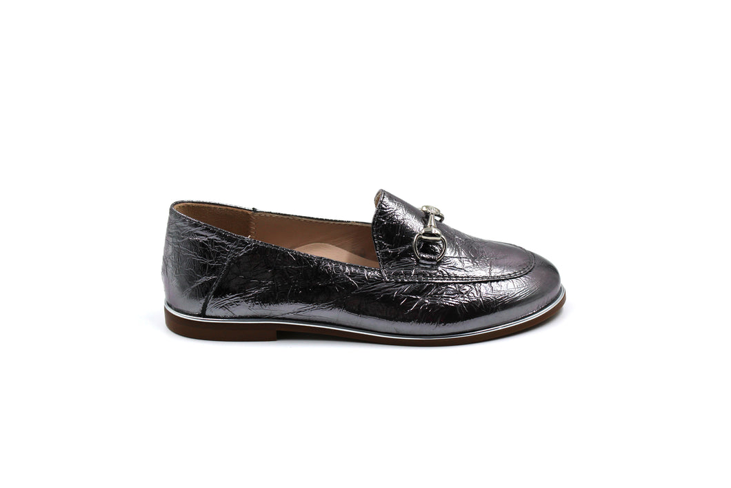 Beberlis Silver Foil Loafer Boys Girls  Dress Shoes
