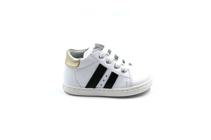 Beberlis White and Black Striped Baby Sneaker