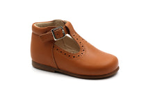 Beberlis Light Brown Wingtip Baby T-Strap