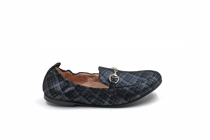 Beberlis Navy Plaid Loafer