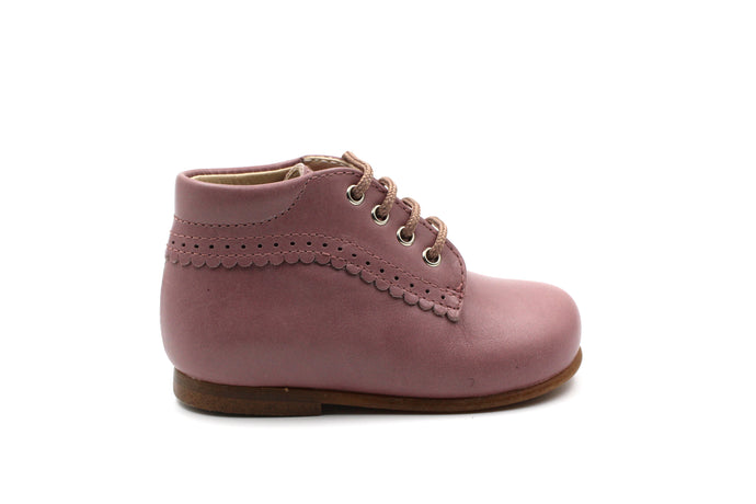 Beberlis Lace up Baby Bootie Leather Box Martain Rose