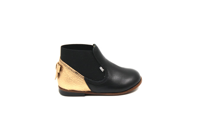 Emel Black and Gold Pull on Bootie