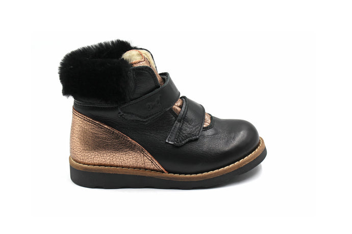 Emel Black and Gold Fur Velcro Bootie