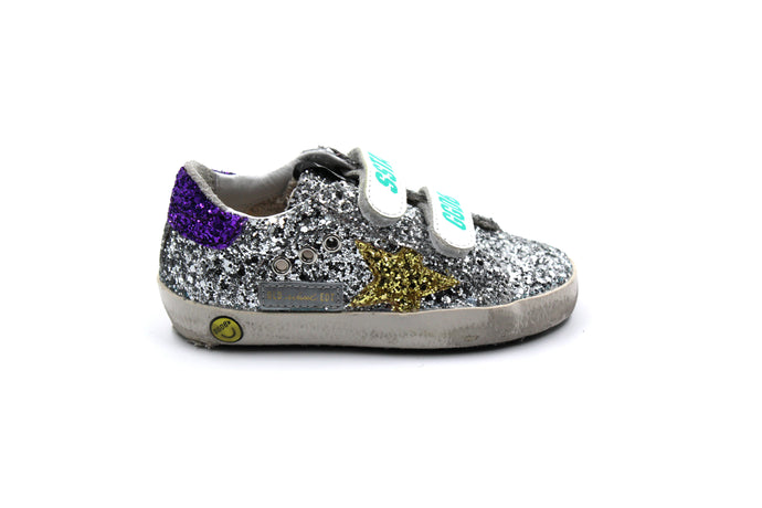 Golden Goose Silver Glitter and Gold Star Sneaker