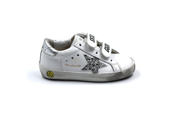 Golden Goose White Leather and Silver Star Sneaker