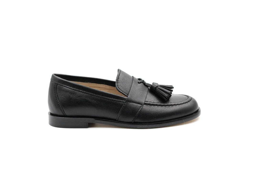 Hoo Black Leather Levi's Tassel Loafer