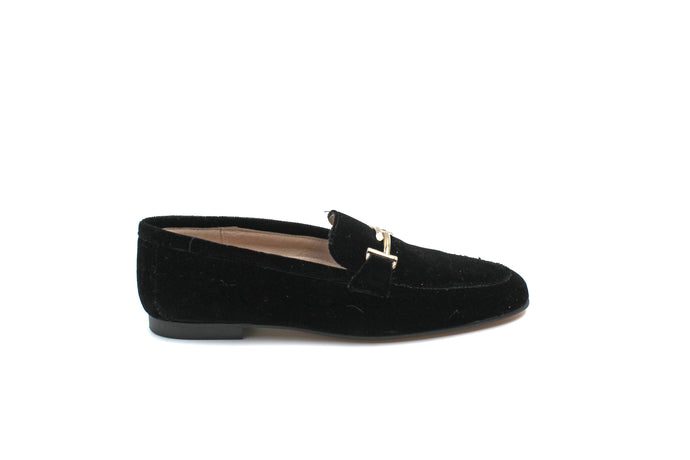 Hoo Black Velvet Buckle Loafer