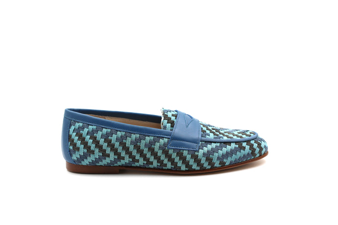 Hoo Blue Textured Penny Loafer