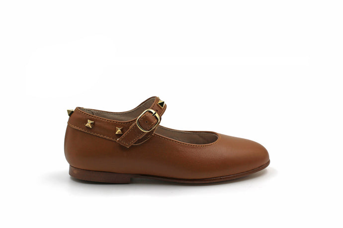 Hoo Brown Leather Bella's Studded Mary Jane
