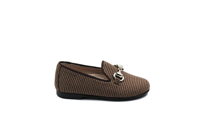 Hoo Houndstooth Buckle Smoking Shoe