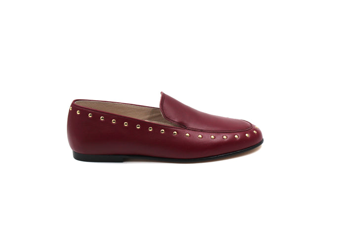 Hoo Burgundy Stud Detail Loafer