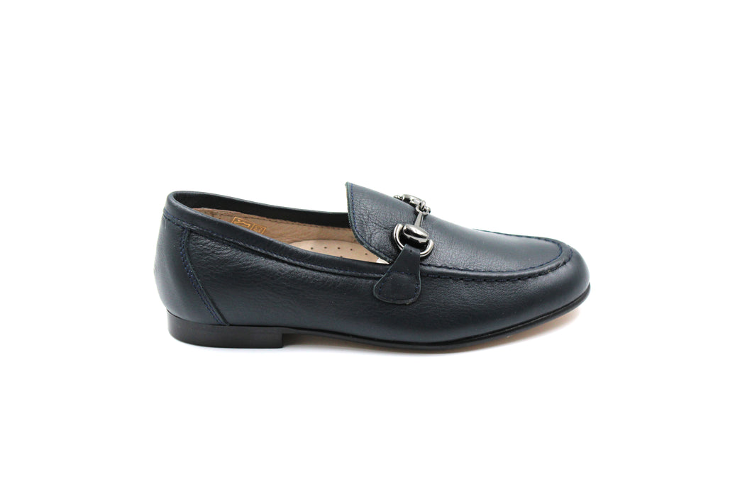 Hoo Navy Buckle Boys Dress Loafer Shoes