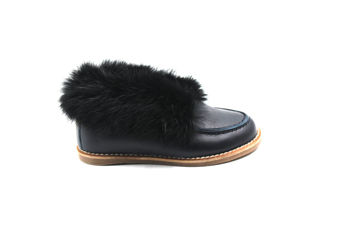 Hoo Navy Fur Shoe
