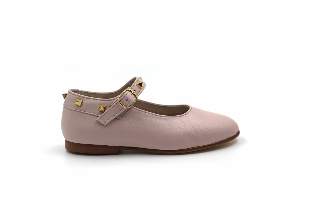 Hoo Pink Leather Bella's Studded Mary Jane
