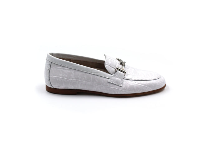 Hoo White Leather Buckle Loafer