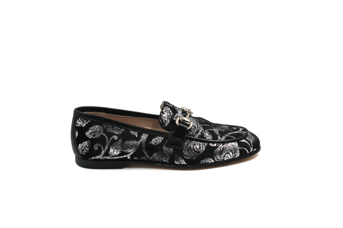 Hoo Black Velvet Floral Buckle Loafer