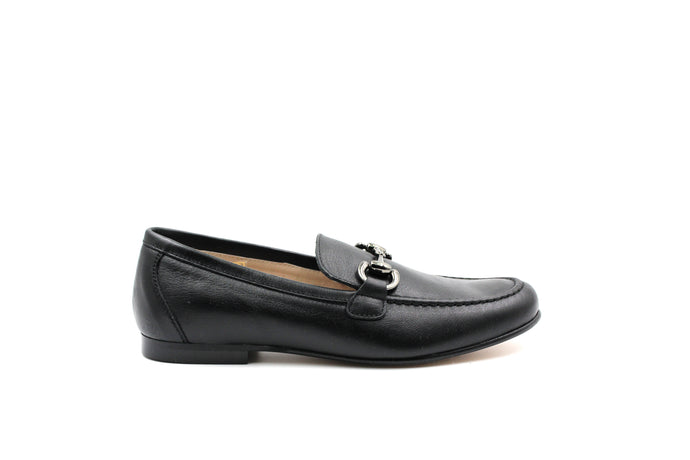 Hoo Black Leather Boys Chain Slip-On