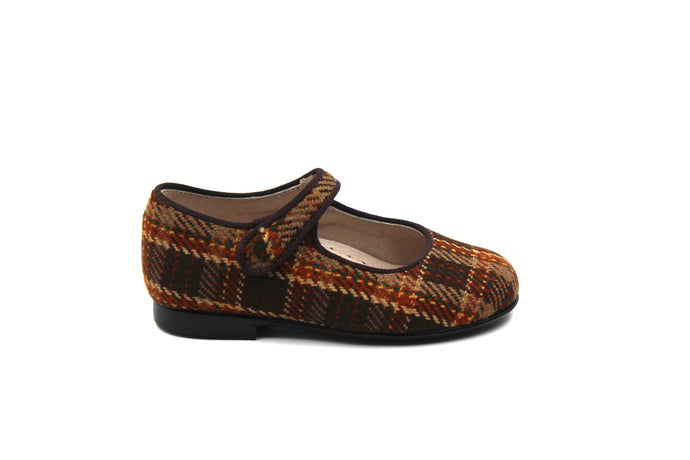 Hoo Brown Plaid Mary Jane