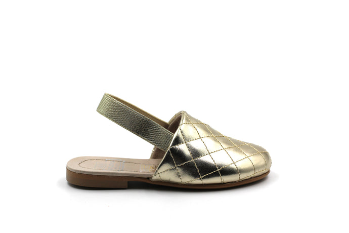 Hoo Gold Metallic Leather Clara's Quilted Mule