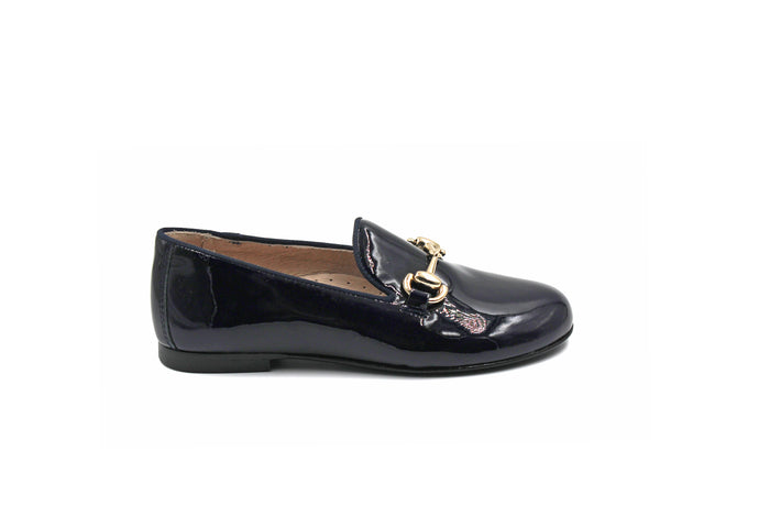 Hoo Navy Patent Buckle Smoking Shoe